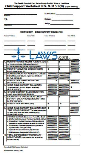 louisiana child support worksheet | Cleverwraps