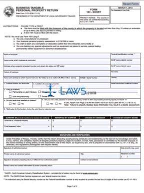 Form 11274 Business Tangible Personal Property Return (Short)
