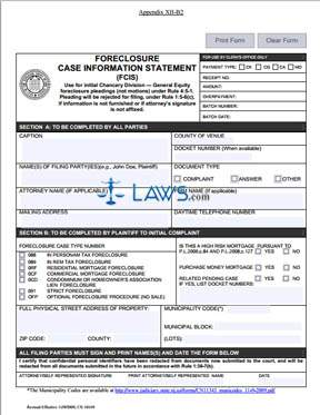 Form CN-10169 Foreclosure Case Information Statement (FCIS)