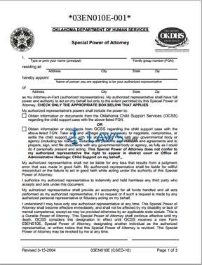 Special Power of Attorney-Authorized Representative (Form 03EN010E)