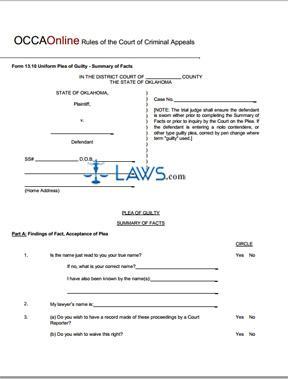 Uniform Plea of Guilty Summary of Facts