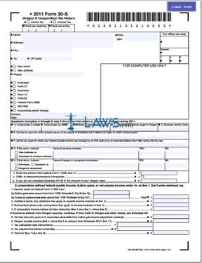 Form 20-S Oregon S Corporation Tax Return