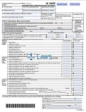 Form IA 1040X Amended Iowa  Individual Income Tax Return