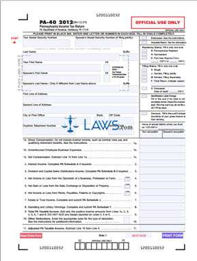 Form PA-40 Pennsylvania Income Tax Return