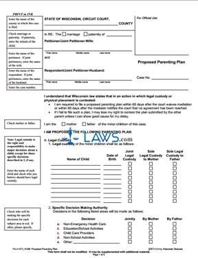 Form FA-4147V Proposed Parenting Pl